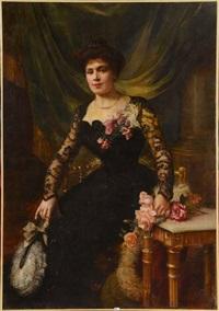 portrait d'une élégante aux fleurs by paul de laboulaye