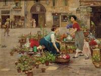 a venetian flower market by cesare vianello