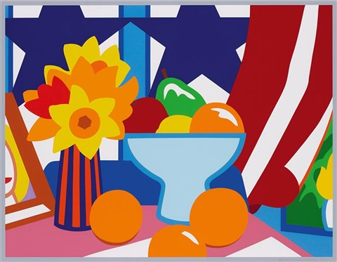 still life with red blowing curtain by tom wesselmann