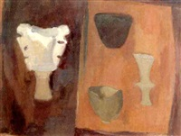 heraldic still life with pots by margaret firth