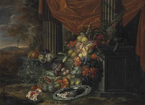 fruits, vegetables, and a silver tray with a bird and a squirrel in a classical portico before a landscape by jan pauwel gillemans the elder