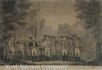 the british surrendering their arms to gen. washington after their defeat at york town in virginia, october 1781 by john francis renault