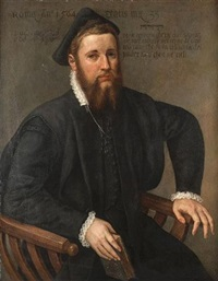 portrait of a bearded man, seated three-quarter-length, in black costume with a black hat and a lace collar, holiding a book by lambert sustris
