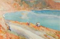 paesaggio costiero con figure by giuseppe francesco piana