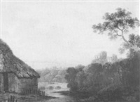 an extensive wooded river landscape with a distant castle  beyond by william groombridge