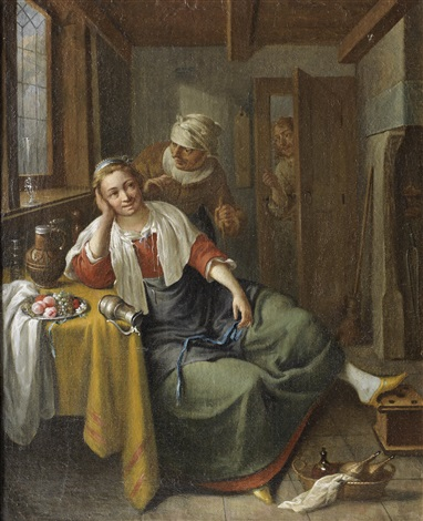 a young woman and her maid in an interior a man at the door by jacob duck