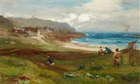 drying the nets, sennen cove, cornwall by david farquharson