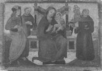 madonna con bambino in trono con san francesco, sant'ambrogio, sant'antonio di padova e un altro santo by romano antoniazzo