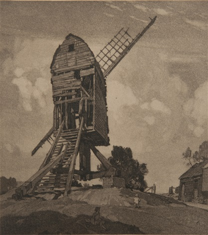 fletchers mill wrentham suffolk 1 etching and 1 drypoint 3 works by leonard russel squirrell