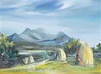 landscape with haystacks by maria simonds-gooding