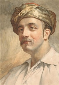 portrait of man in a turban by e. atkins