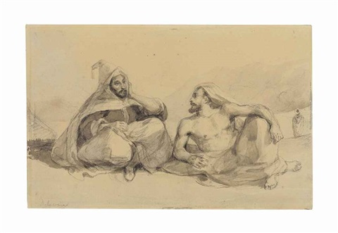 two seated moroccans in a mountainous landscape by eugène delacroix