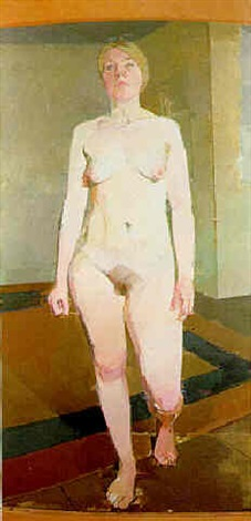large nude walking towards you by euan uglow