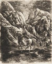 le cavalier oriental dans les montagnes by rodolphe bresdin