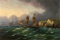 navires dans la tempête près d'une côte rocheuse by emile louis vernier
