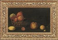 natura morta con cestino con mele, fiore, coltello e altri frutti su un tavolo; natura morta con vassoio di frutta e brocca (coppia) by anonymous (16)