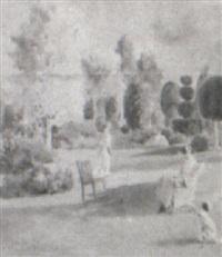 women in a garden by rosina emmet sherwood
