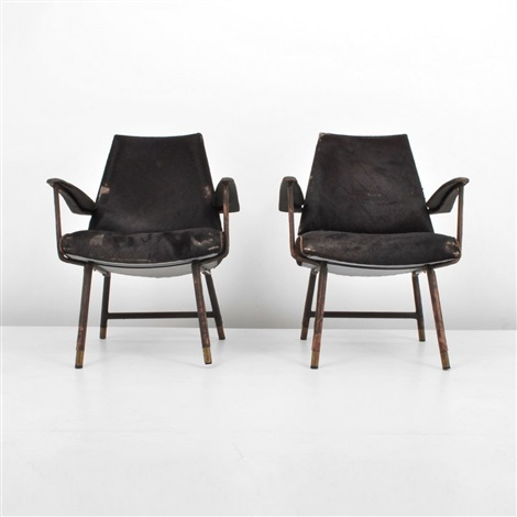 lounge chairs pair by jacques adnet
