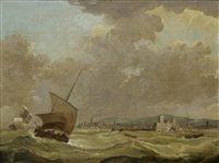 saluting the flagship off dover (+ a french man-o'war and other shipping in a heavy swell off dunkirk; pair) by francis swaine