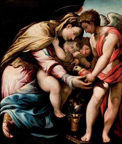 virgen con el niño y un papagallo by giuseppe salviati porta