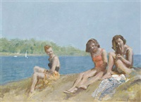 girls on a beach by norman hepple