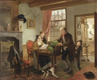 a family in an interior with a dog and cat by adriaen de lelie