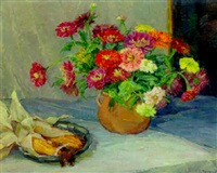spring flowers in a jug on a table with a dish of corn by ellen tornquist