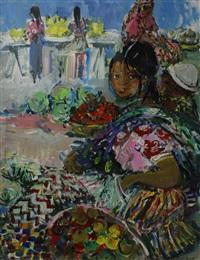 jeune femme sur un marché by yolande ardissone