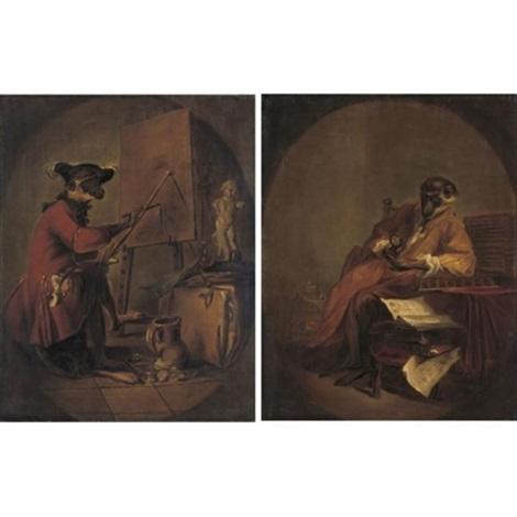 le singe peintre le singe antiquaire pair by jean baptiste siméon chardin