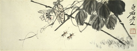 two crickets and beans by qi baishi