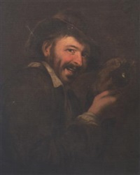 a peasant holding a flask by petrus staverenus