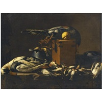 a still life with game on a ledge by evaristo baschenis