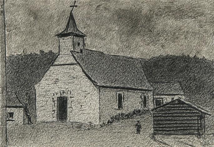 église de targnon vieille à la fenêtre 2 works by xavier mellery