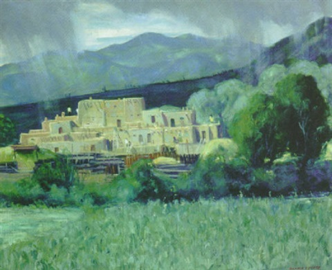 taos pueblo by richard vernon goetz