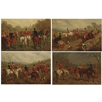 the meet, breaking cover, in full cry and the kill : hunting scenes (4 works) by edward benjamin herberte