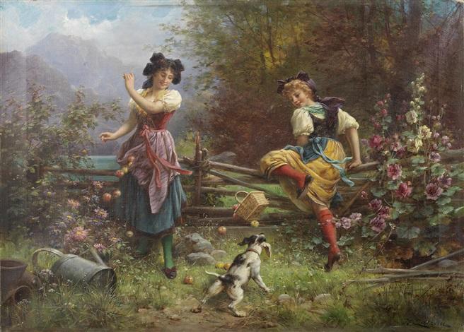 tumbling apples by hans zatzka