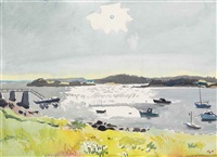 morning sun over the harbor by fairfield porter
