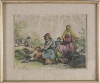 contadino seduto, contadina accompagnata da un bambino e pastorello che conduce il gregge by francesco londonio
