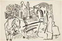 townscape with horse and chickens by béla kádár