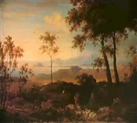 a goatherd and his herd by a stream in a classical     landscape by johann faber