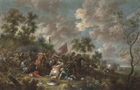 a cavalry skirmish between turks and christians by simon johannes van douw