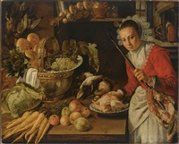 an elaborate kitchen still life with a maid holding a skewer with a piece of meat, with grapes, artichokes and bread in a copper kettle, together with carrots, a cabbage, apples and poultry... by dutch school-southern (17)