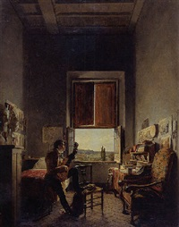 louis vincent leon palliere in his studio at the villa medici, rome by jean alaux