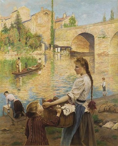 les lavandières à pont sur yonne by andré chabellard