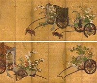 flower carts (+ another; pair) by japanese school-kano (17)