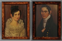 pair of portraits of mr. and mrs. kimball dustin by thomas ware
