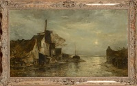 bord de mer en hollande au clair de lune by louis artan de saint-martin