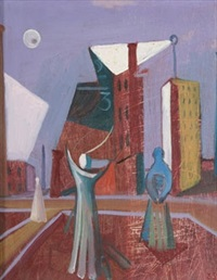abstract figures with buildings by ernest walter smith