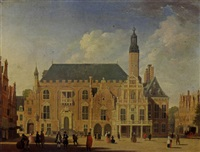 haarlem: a view of the town hall with elegant figures promenading by jan ten compe