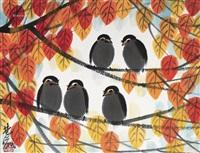 枫叶群鸟 镜片 设色纸本 (maple leaf birds) by lin fengmian